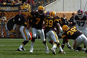 "Throwback uniform - The Pittsburgh Steelers of the NFL wearing their 75th year ""Throwback"" uniforms."