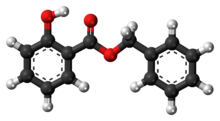 Ball-and-stick model of the benzyl salicylate molecule