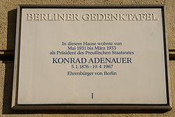 Photo of Konrad Adenauer white plaque