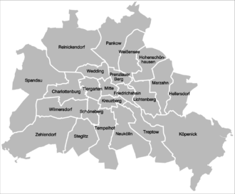 Boroughs and neighborhoods of Berlin - 23 former boroughs (1990-2000)