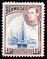 Bermuda 2ships 1940 issue-1½d.jpg