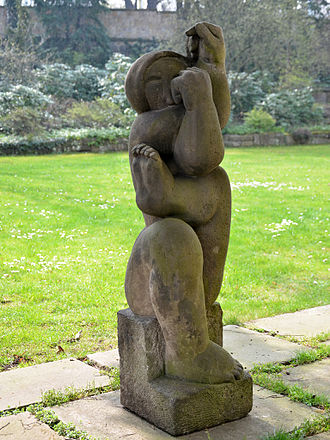 Bernard Reder - Female figure, sandstone sculpture by Bernard Reder, created in Prague around 1930