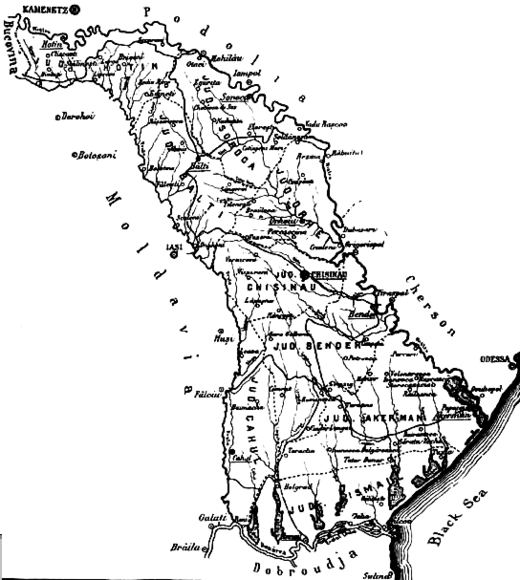 Map of Bessarabia from Charles Upson Clark's 1927 book Bessarabia, Russia and Roumania on the Black Sea Bessarabia.png