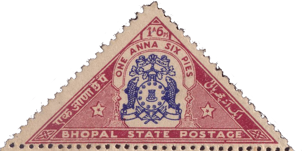 Bhopal Government Postage - One Anna Six Pies