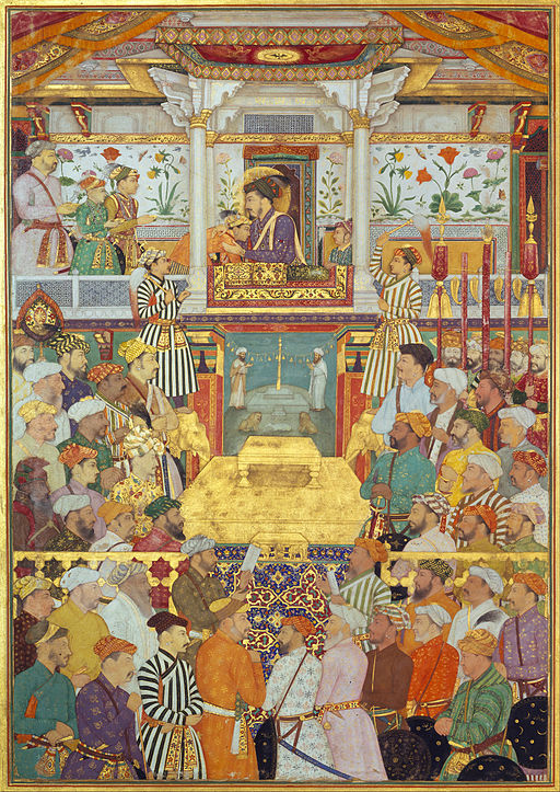 Bichitr - Padshahnama plate 10 - Shah-Jahan receives his three eldest sons and Asaf Khan during his accession ... - Google Art Project