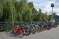 Bicycle rack near U-Bahnhof Roßauer Lände, Vienna.jpg