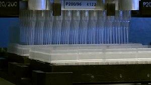 Microtiter plate - Liquid handling robot for 96 wells