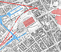 Birmingham Worcester Wharf Central Goods Depot OS map 2nd edition 1905 showing canals rail tunnels and Central Goods and New Street stations.jpg