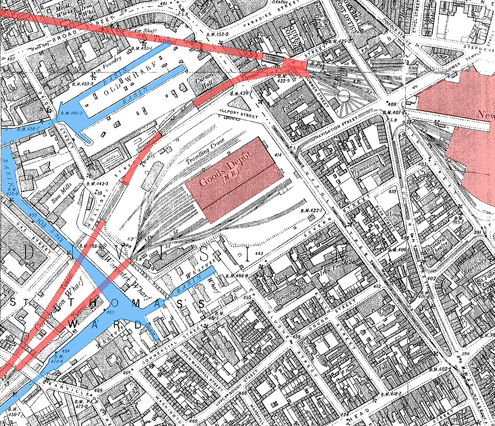 Birmingham Worcester Wharf Central Goods Depot OS map 2nd edition 1905 showing canals rail tunnels and Central Goods and New Street stations