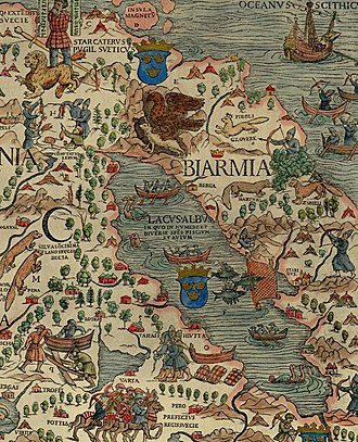Bjarmaland - Bjarmaland (Biarmia) as illustrated in the Carta marina (1539) by Olaus Magnus