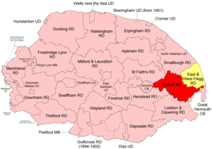 Blofield and Flegg Rural District - Position within Norfolk, 1894