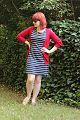 Blue Striped Shift Dress, Red Cardigan, Gold Glitter Loafers, and a Vintage Necklace (19176696959).jpg