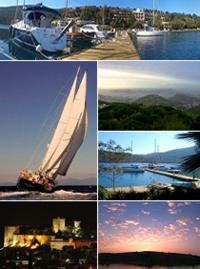 Üstten saat yönünde: 1.Cennet Koyu'nun panoraması, 2.Bodrum yarımadası, 3.Port Atami Marina, 4.Gündoğumu, 5.Bodrum Kalesi, 6.Bodrum'da bir yelkenli.
