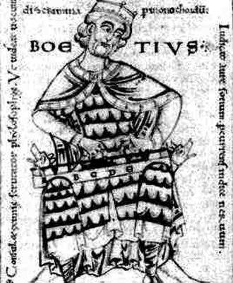 Monochord - Medieval drawing of the philosopher Boethius