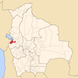 Location of Ingavi Province within Bolivia