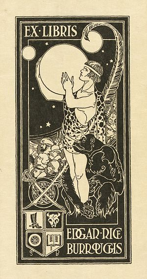 Edgar Rice Burroughs - Burroughs's bookplate, showing Tarzan holding the planet Mars, surrounded by other characters from his stories and symbols relating to his personal interests and career
