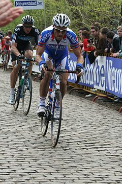 Tom Boonen riding at Kemmelberg.