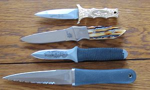 Boot knife - Four boot knives, including a SOG Pentagon, custom stag handled boot knife, Ek knife and Parker Bros knife