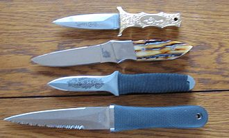 Boot knife - Four boot knives, including a SOG Pentagon, custom stag handled boot knife, Ek knife and Parker Bros knife