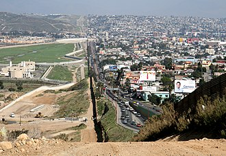 Mexico–United States barrier - Border fence between San Diego's border patrol offices in California, USA (left) and Tijuana, Mexico (right)