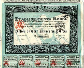 Etablissements Borel - Borel share certificate of 1918