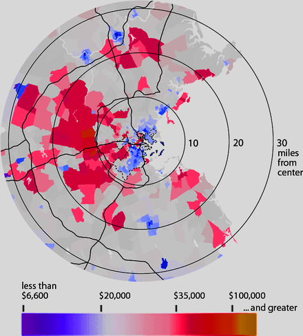 Per capita income in the Greater Boston area, by US Census block group, 2000. The dashed line shows the boundary of the City of Boston. Boston income donut.png