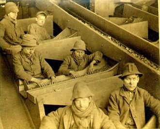 Breaker boy - Breaker boys at the Eagle Hill colliery near Pottsville, Pennsylvania. George Bretz photo, 1884.