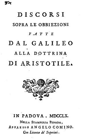 Gregorio Bressani - Discorsi sopra le obbiezioni fatte dal Galileo alla dottrina di Aristotile, 1760