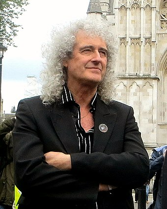 May outside the Houses of Parliament in London during a June 2013 anti-badger cull demonstration Brianmaywestminster.jpg