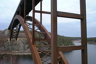 Robert-Bourassa generating station - The 274-metre long Eastmain River bridge, one of 12 river crossings built to link the worksite to southern Quebec.