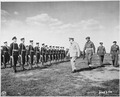 British Prime Minister Winston Churchill reviews honor guard at Gatow Airport in Berlin, Germany where he has just... - NARA - 198862.tif