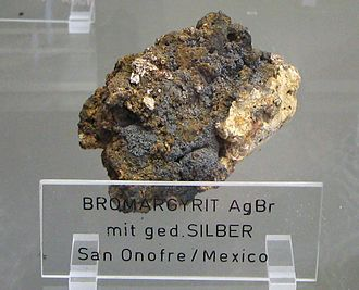 Bromargyrite - Bromargyrite with Silver - San Onofre, Mexico.