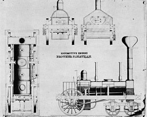 Henry Roe Campbell - Schematic of the first 4-2-0 locomotive, the Brother Jonathan