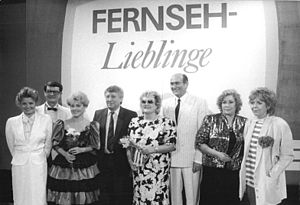 "Deutscher Fernsehfunk - The ""Fernseh-Lieblinge"" (Television Favorites) were the most popular actors on East German television. These are 1987's prizewinners."