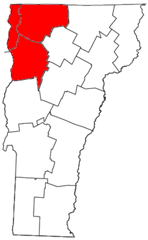 Burlington, Vermont metropolitan area - Map of Vermont highlighting the Burlington-South Burlington Metropolitan Statistical Area.