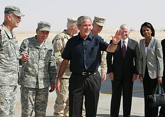 Al Anbar Governorate - President George W. Bush and a group of high-ranking generals and advisers at Al Asad Airbase, September 2007