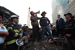 Bush addresses rescue workers at Ground Zero i...