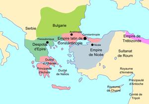 Le despotat d'Épire en 1230 (en vert foncé).