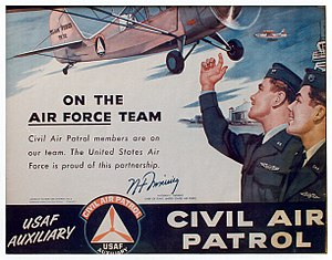 Civil Air Patrol - On the Team, Civil Air Patrol poster (1955) featuring an Air Force airman and a CAP cadet, with a CAP L-16 and an Air Force F-94 flying overhead. This poster features the signature of then-Chief of Staff of the United States Air Force, Gen. Nathan F. Twining.