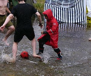 "English: After the rain: ""water football&..."