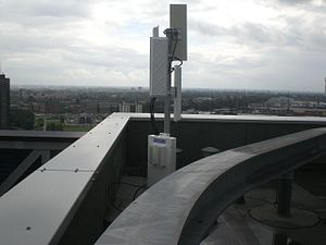 Point-to-multipoint communication - A CableFree Point to Multipoint Radio base station installed for a Wireless Internet Service Provider (WISP) in Rotterdam, The Netherlands.  The CableFree Radio Base station has 4 radio interfaces each connected to a separate Sector Antenna, each providing 90 degrees coverage of the city for a full 360 degrees coverage.Within 5-20km of this base station, Subscriber Units (CPEs) with high gain directional antennas are installed on sites which can then connect to the Base Station to receive broadband data connections of typically 10-200Mbit/s capacity.