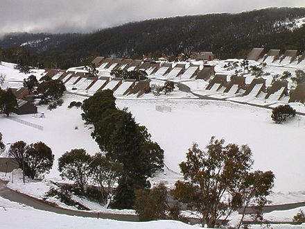 Cabramurra, Australia's highest town, was built during construction of the Snowy Mountains Scheme. Cabramurra July 2011.jpg