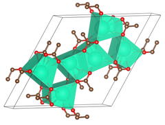 anhydrous caesium acetate crystallizes in a hexagonal unit cell.