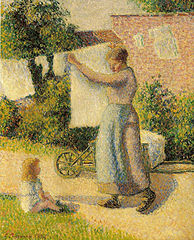 Woman Hanging Laundry, Éragny