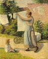 Camille Pissarro - Femme étendant du linge, Éragny 854.jpg