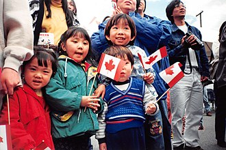 Immigration to Canada - Fifth wave Canadian children celebrating Canada Day, Vancouver, 1 July 1999