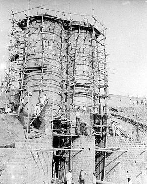 Gangapur Dam - The canal tower of Gangapur Dam in 1956