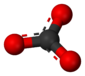 Ball-and-stick model of the carbonate anion