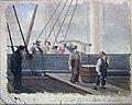 Carl Fredrik Diriks - Sailship being unloaded at the Quai - Bryggescene Lossing fra seilskute - Nasjonalmuseet - NG.M.03099.jpg