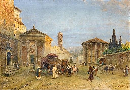 Carl Wuttke - Römische Vedute mit der Piazza della Bocca della Verità